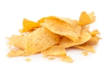 Stack of triangular chips against white background