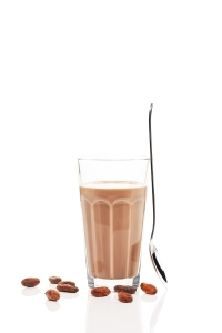 chocolate milk with chocolate beans